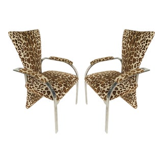 1990s Stainless Steel Armchairs with Leopard Animal Print Upholstery - a Pair For Sale