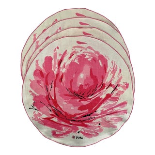 Mid-Century Vera Round Rose Linen Placemats, S/4 For Sale