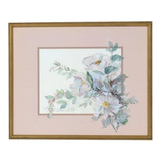 20th Century Watercolor on Paper Painting, Bouquet of White Camellias For Sale