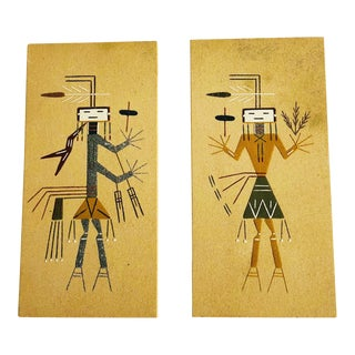 Vintage Native American Sand Art Paintings - a Pair For Sale
