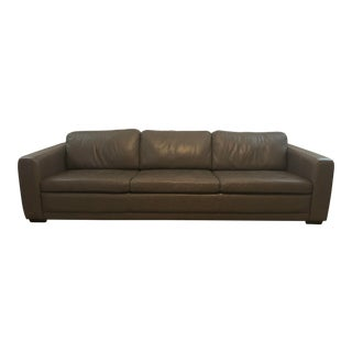 Contemporary Dark Gray Leather Sofa For Sale