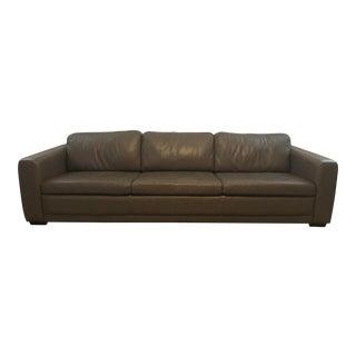 Contemporary Dark Gray Leather Sofa