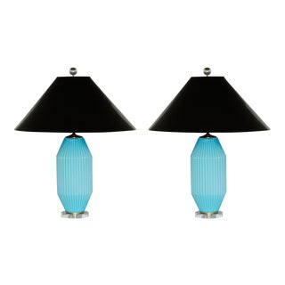 Vintage Art Deco Blue Murano Glass Table Lamp Pair For Sale