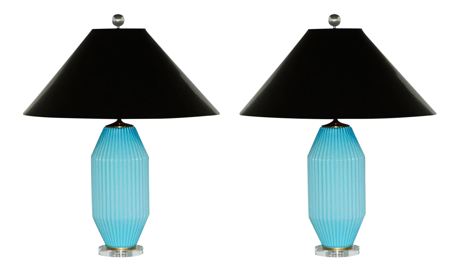 Vintage Art Deco Blue Murano Glass Table Lamps By Swank Lighting Chairish