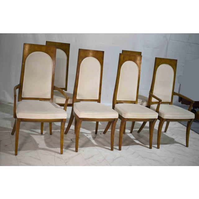 1960s Hollywood Regency Amboyna Wood Dining Chairs by Mastercraft - Set of 6 For Sale - Image 11 of 13