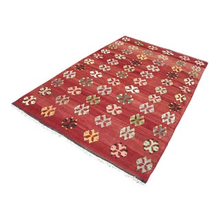"1960's Anatolian Kilim Red Rug-6'2'x9'5"" For Sale"