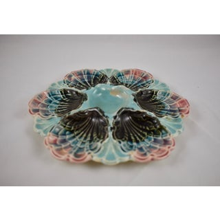 Five-Lille French Majolica Pink Rim Shell Oyster Plate Preview