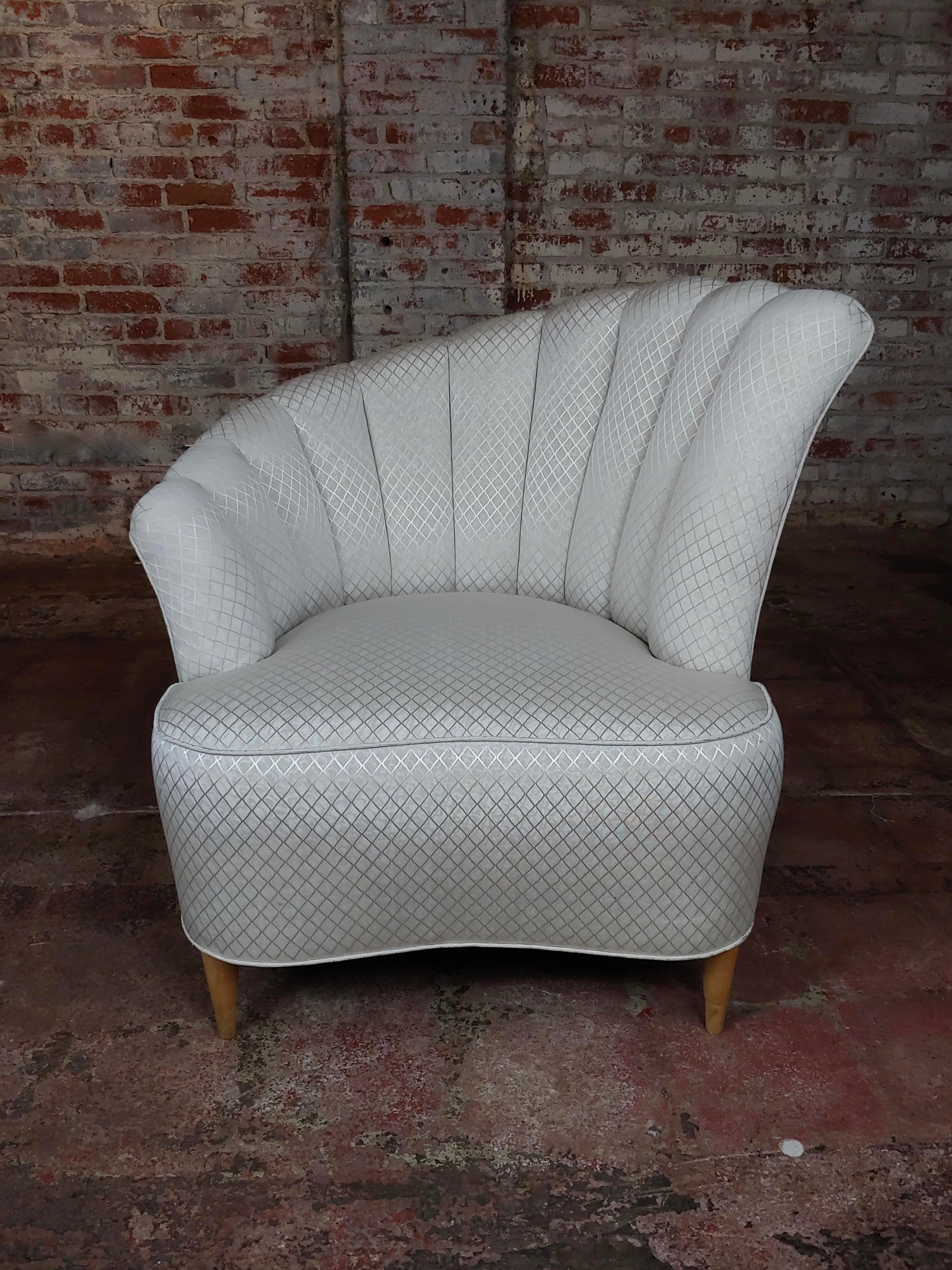 1940s Asymmetrical Chair Fan Back Hollywood Regency 1940s Swivel Tub Club Chair Mid-Century MCM Kagan Nautilus Style
