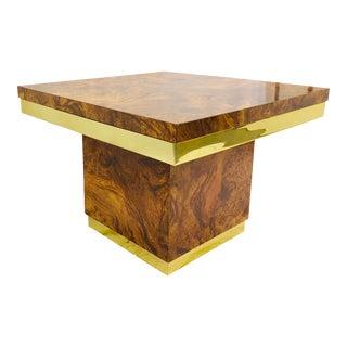 Vintage Burl & Brass Side Table For Sale