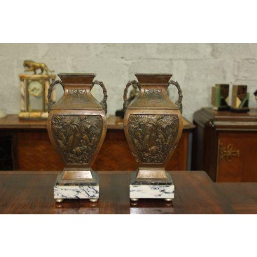 Big Pair of French Art Deco Vase With Marble Base Circa 1935s For Sale - Image 5 of 10