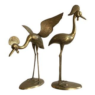 Vintage Brass Cranes Figures - a Pair