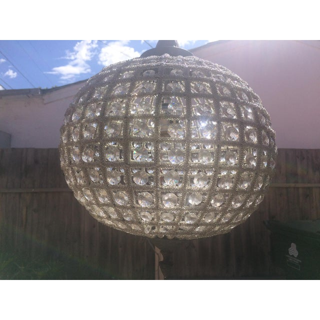 French Beaded Glass and Metal Globe Chandelier For Sale - Image 4 of 5