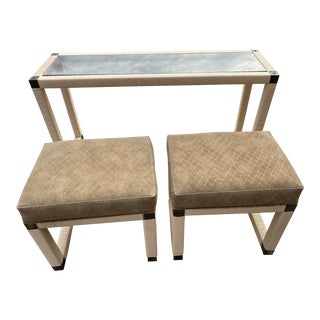 1960s Hollywood Regency Bamboo,Rattan and Glass Console Table With Bench Seats - 3 Piece Set For Sale