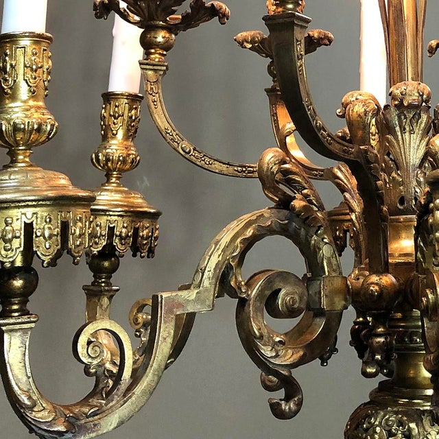 Antique French Louis XIV Bronze Chandelier For Sale - Image 11 of 13