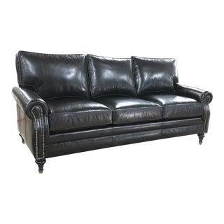 Brompton Black Leather 8-Way Hand Tied Sofa For Sale