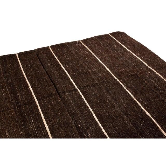 Mid 20th Century Vintage Mid-Century Brown Striped Kilim Wool Rug - 6′9″ × 10′ For Sale - Image 5 of 6