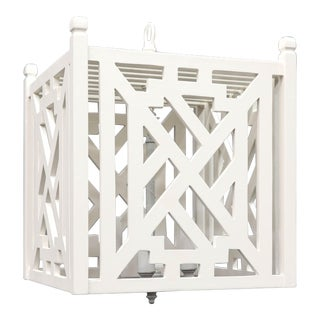 Modern Wood Geometric Brighton White Cube Lantern For Sale