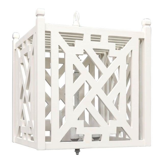 Modern Wood Geometric Brighton White Cube Lantern For Sale