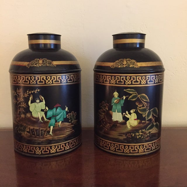 Black English Tole Tea Canisters - A Pair - Image 2 of 8