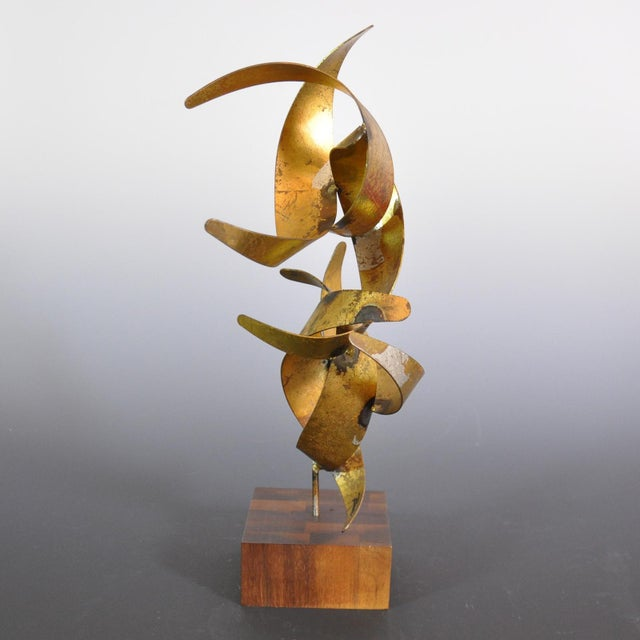 Brutalist Vintage Mid-Century William Bowie Brutalist Gold Leaf Metal Sculpture For Sale - Image 3 of 6