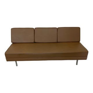 Mid Century Modern Vinyl Hassock Sofa Bench For Sale