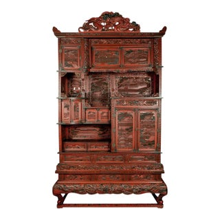 19th Century Cinnabar Treasure Cabinet