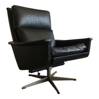 Mid-Century Modern Swedish Black Leather Swivel Lounge Chair For Sale