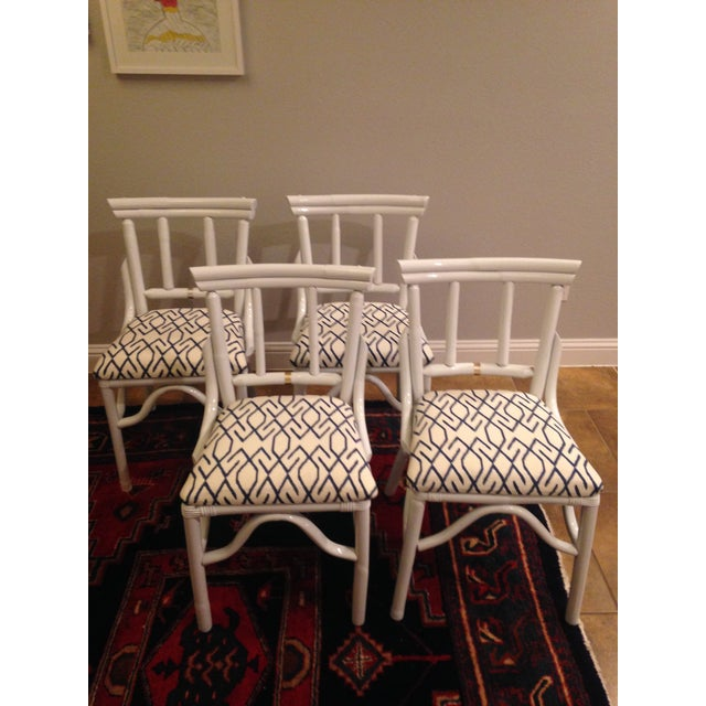 White Wash Bamboo Dining Chairs - Set of 4 - Image 2 of 3
