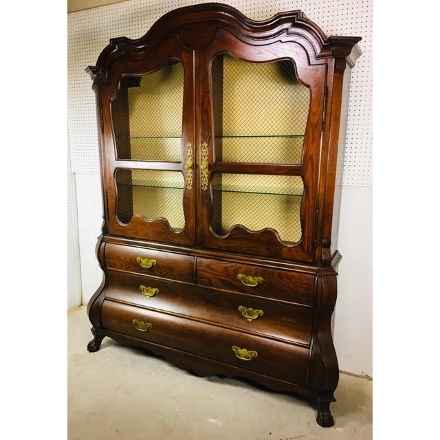 Chinoiserie 1950's Oak Bombay Style China Cabinet For Sale - Image 3 of 11