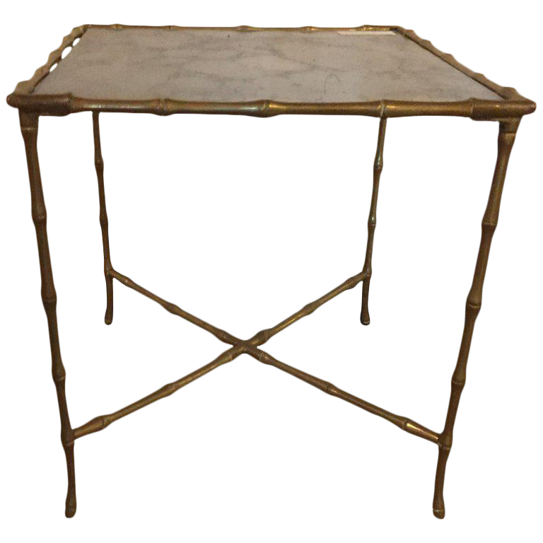 Bronze Hollywood Regency Gilt Bronze Faux Bamboo End Table With Gilt Glass  Top For Sale
