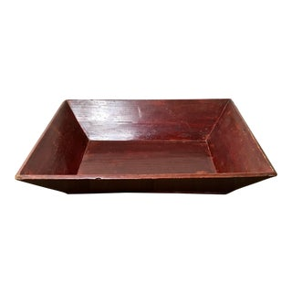 Aged Red Lacquered Wooden Box Tray With Handles For Sale