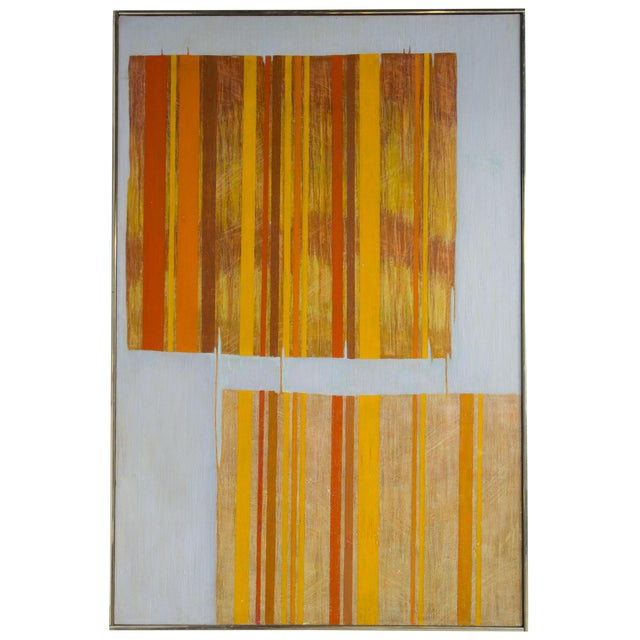 Large Mid Century Abstract Oil Painting on Linen by Listed Artist For Sale