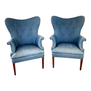 1940s Vintage Butterfly Wingback Chairs - a Pair For Sale
