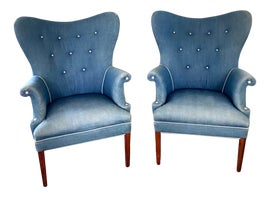 Image of Blue Wingback Chairs