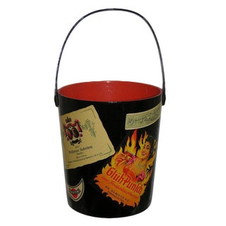 1950s Black and Red Lacquered Barware Ice Bucket For Sale