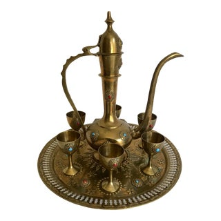 Moroccan Brass Tea Set - 8 Pieces For Sale