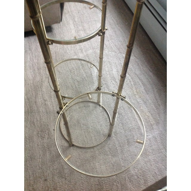 Mid Century Faux Brass Bamboo Shelf Plant Stand For Sale In Cleveland - Image 6 of 9