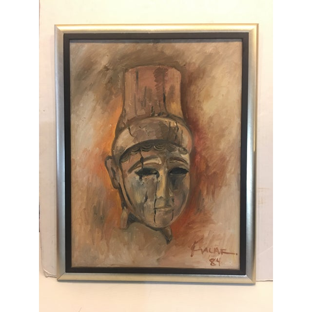 "Red 1984 Amin Kalaf ""The Lady of Alba"" Oil Painting For Sale - Image 8 of 8"