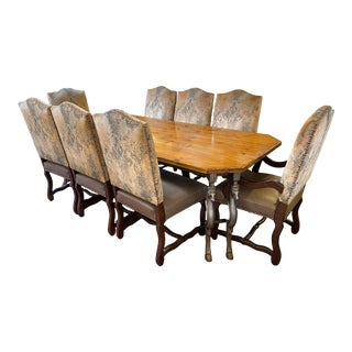 Custom Bronze Double Horse Leg Dining Table + Custom Louis XIV Style Dining Chairs - Set of 9 For Sale