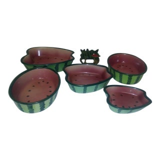 Americana Watermelon Serving Dishes - Set of 6 For Sale