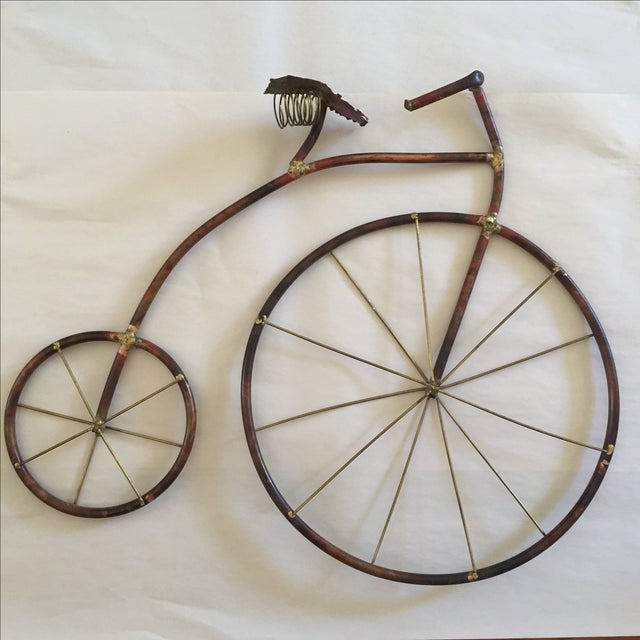 Mid-Century Brutalist Sculpted Copper Bicycle - Image 3 of 10