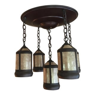 Mica Lamp Medallion Chandelier For Sale