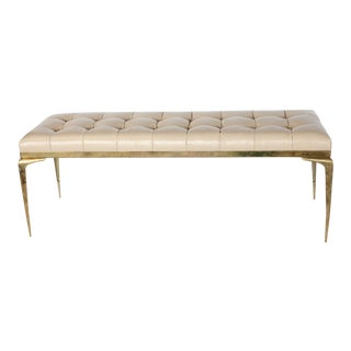 Mid Century Italian Brass and Leather Bench For Sale