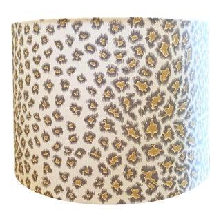 Custom Drum Lamp Shade in Brunschwig & Fils English Leopard For Sale