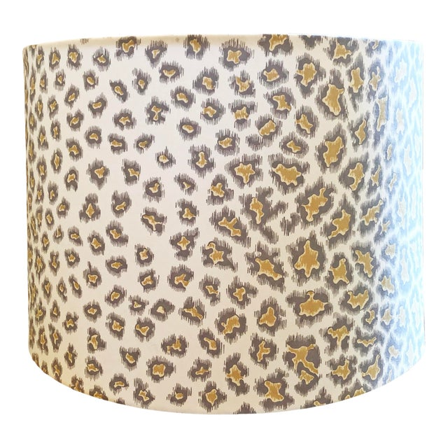 Custom Drum Lamp Shade in Brunschwig & Fils English Leopard For Sale