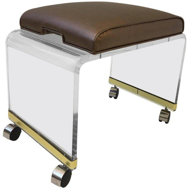 Copper Acrylic Waterfall Vanity Stool on Casters by Hill Manufacturing Corp For Sale - Image 8 of 8