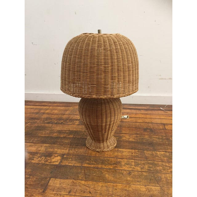 Wicker 1960s Vintage Wicker Lamp and Shade For Sale - Image 7 of 8