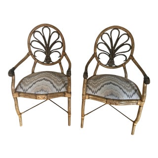 Early 21st Century Vintage Ferguson Copeland LTD Boho Rattan Wicker Arm Chairs- A Pair For Sale