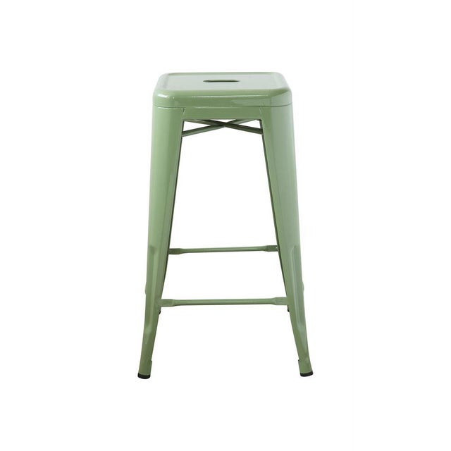 """A classic style and much loved green metal stool. Square: 16"""" Square Height 26"""""""
