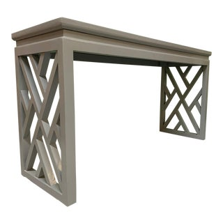Chinese Chinoiserie Chippendale Lattice Console Table For Sale